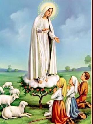 Una immaginetta che ritrae l'apparizione di Maria ai tre pastorelli di Fatima